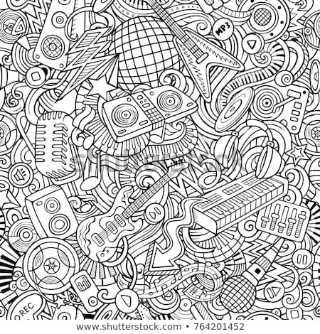 Stock photo: Cartoon cute doodles Disco music seamless pattern