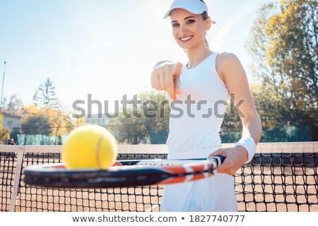 Kadın tenis kortu işaret kamera Stok fotoğraf © Kzenon