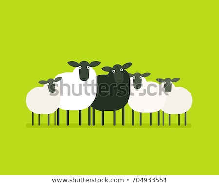 Sheep Stands on Green Grass Vector Cartoon Animal Stock photo © robuart