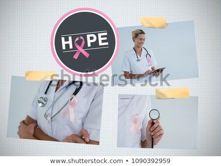 câncer · de · mama · médico · mulher · rosa · consciência · fita - foto stock © wavebreak_media