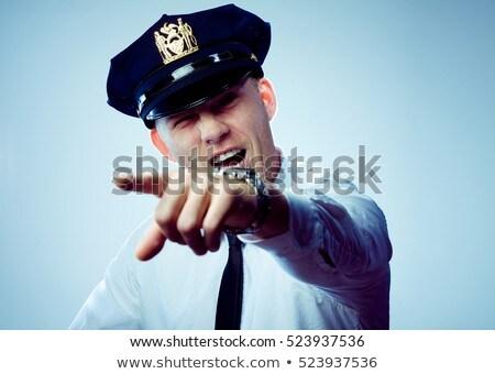 Oficial de policía poli puntos instrucciones arte pop retro Foto stock © studiostoks