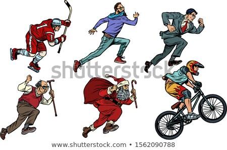 Establecer colección hockey hombre ciclista empresario Foto stock © studiostoks
