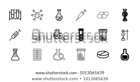 Syringe and Medicine Beaker Icon Vector Outline Illustration Stock photo © pikepicture