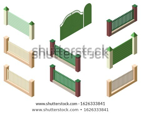 Fence enclosure, gate and wicket set 3d isometric elements isolated on white Stock photo © orensila