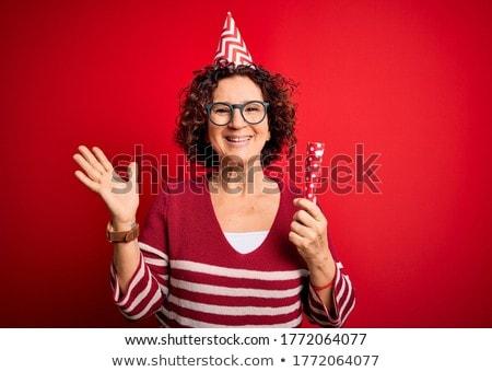 Maravilhado engraçado senior mulher grande festa Foto stock © dolgachov
