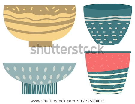 Stack of Clay Pots Isolated Flat Kitchen Utensils Stock photo © robuart
