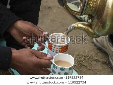 Ladhaki Woman Serving Tea With Milk Ladakh India Stok fotoğraf © haraldmuc