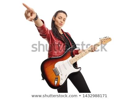 Mooie jonge vrouw zanger microfoon muziek glimlach Stockfoto © stryjek