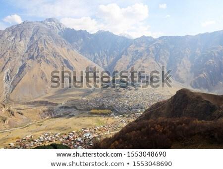 Kilátás szent hegy Kaukázus tábor fa Stock fotó © meinzahn
