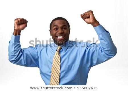 Сток-фото: счастливым · бизнесмен · изолированный · мнение