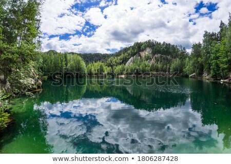 Göl kayalar Çek Cumhuriyeti su sonbahar bitki Stok fotoğraf © phbcz