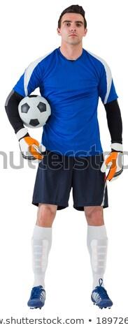 Jóképű kapus kék futball futball labda Stock fotó © wavebreak_media