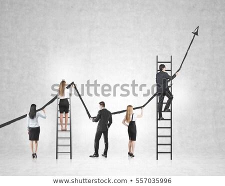 üzletember mászik üres hely hátsó nézet izolált fehér Stock fotó © cherezoff
