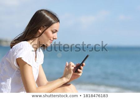 Cellulaires plage illustration eau mer technologie Photo stock © adrenalina