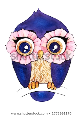 Cute pink owl perched on a branch Stock photo © adrian_n