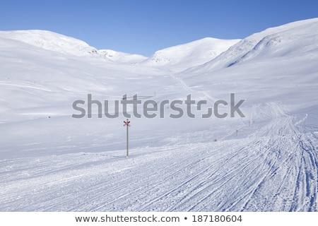 Ski track crossing white snowdrift Stock photo © Mps197