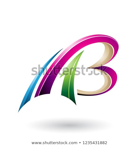 Magenta and Beige Flying Dynamic 3d Letters A and B Vector Illus Stock photo © cidepix
