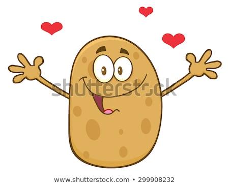 Feliz batata corações abrir brasão Foto stock © hittoon