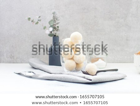 Chocolate coconut truffles in glass Stock photo © elly_l