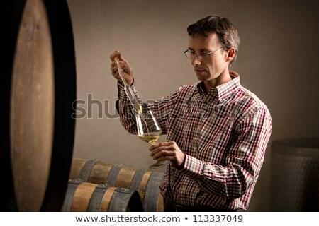 Foto stock: Toma · muestra · vino · blanco · vino · fabricante