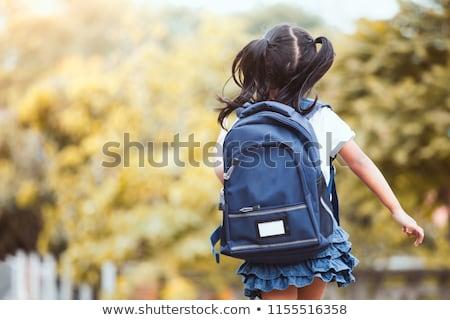 küçük · sarışın · sırt · çantası · portre · beyaz - stok fotoğraf © lopolo