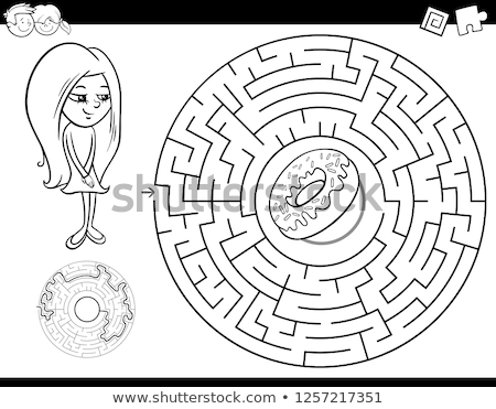 maze game with girl and sweets coloring page Stock photo © izakowski