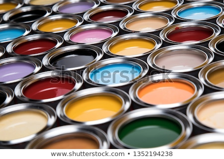 Group of tin metal cans with color paint Stock photo © JanPietruszka