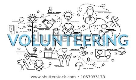 Vrijwilligers ondersteuning website vector dun lijn Stockfoto © pikepicture