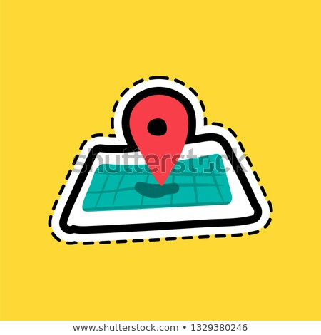 Pinpoint flat color sticker Stock photo © barsrsind