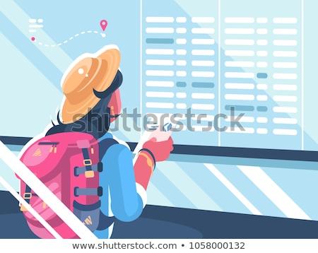 Dziewczyna podróżnik oglądać harmonogram loty wakacje Zdjęcia stock © jossdiim