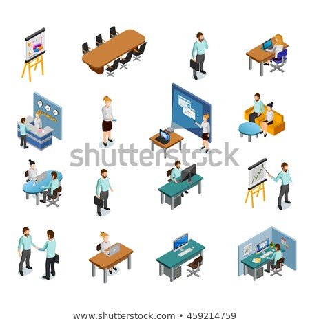 Speaker with Statistic isometric icon vector illustration Stock photo © pikepicture