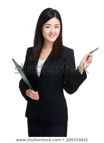 sorridente · bastante · mulher · jovem · documentos - foto stock © photography33