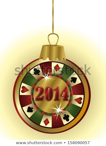 Happy New 2014 Year casino poker chip, vector  Stock photo © carodi
