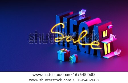 holiday sale in 3d red letters and block stock photo