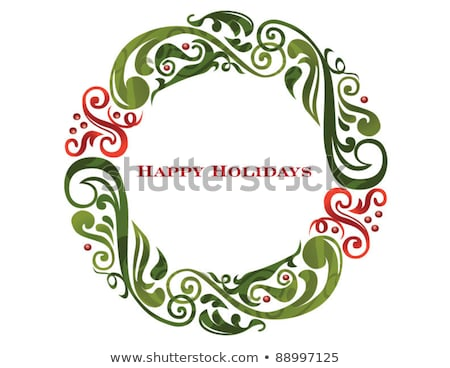 Decorative white stained green Christmas wreath Stock photo © ozgur