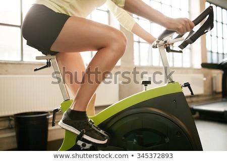 genç · kadın · bisiklet · kask · beyaz · gülümseme · spor - stok fotoğraf © is2