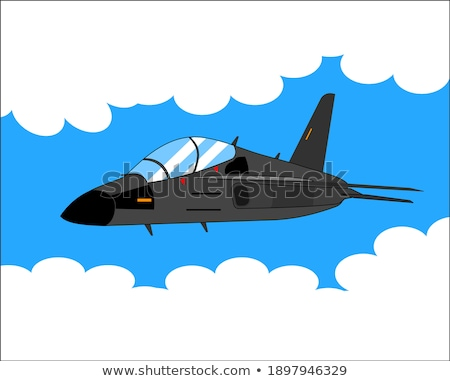 Military Naval Fighter Jet Airplane Cartoon Vector Illustration Stock photo © jeff_hobrath