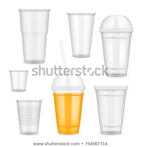 Foto d'archivio: Set · trasparente · plastica · coppe · acqua · cinque
