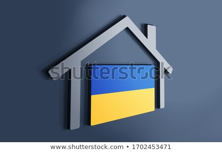 Casa bandera Ucrania blanco casas Foto stock © MikhailMishchenko