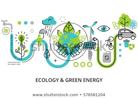 Aarde planeet bladeren boom vector dun Stockfoto © pikepicture