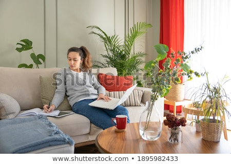 Business woman working on laptop in a cozy environment Stock photo © ra2studio
