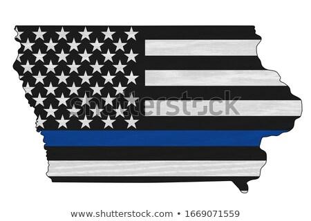 Iowa policji wsparcia banderą ilustracja Zdjęcia stock © enterlinedesign