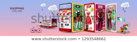 Vektor szalag online vásárlás alkalmazás telefon kéz Stock fotó © karetniy