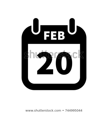 Simple black calendar icon with 20 february date isolated on white Stock photo © evgeny89