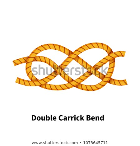 Double Carrick Bend sea knot. Bright colorful how-to guide on white Stock photo © evgeny89