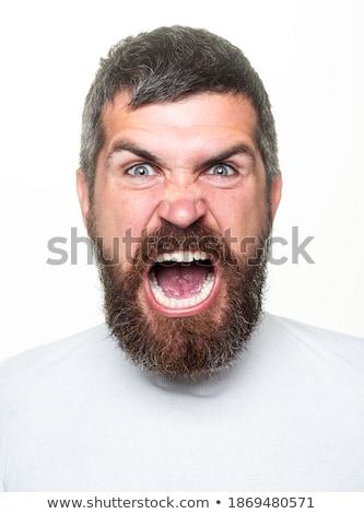 Pensativo tipo bigote aislado blanco cara Foto stock © Gelpi