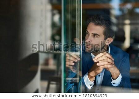 işadamı · derin · düşünce · turkuaz · beyaz · iş - stok fotoğraf © photography33
