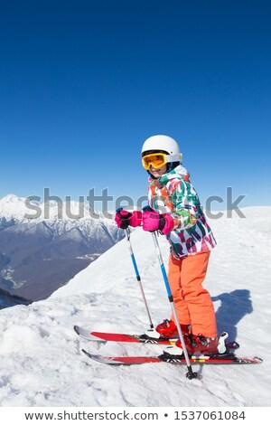 sorridente · menina · esqui · jovem · bela · mulher · mulheres - foto stock © smuki