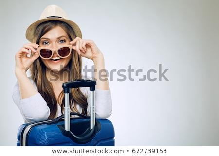 Vrouw reiziger koffer geïsoleerd witte meisje Stockfoto © Elnur