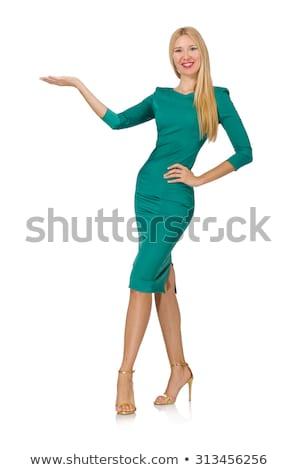 Bastante mulher jovem verde vestir isolado branco Foto stock © Elnur